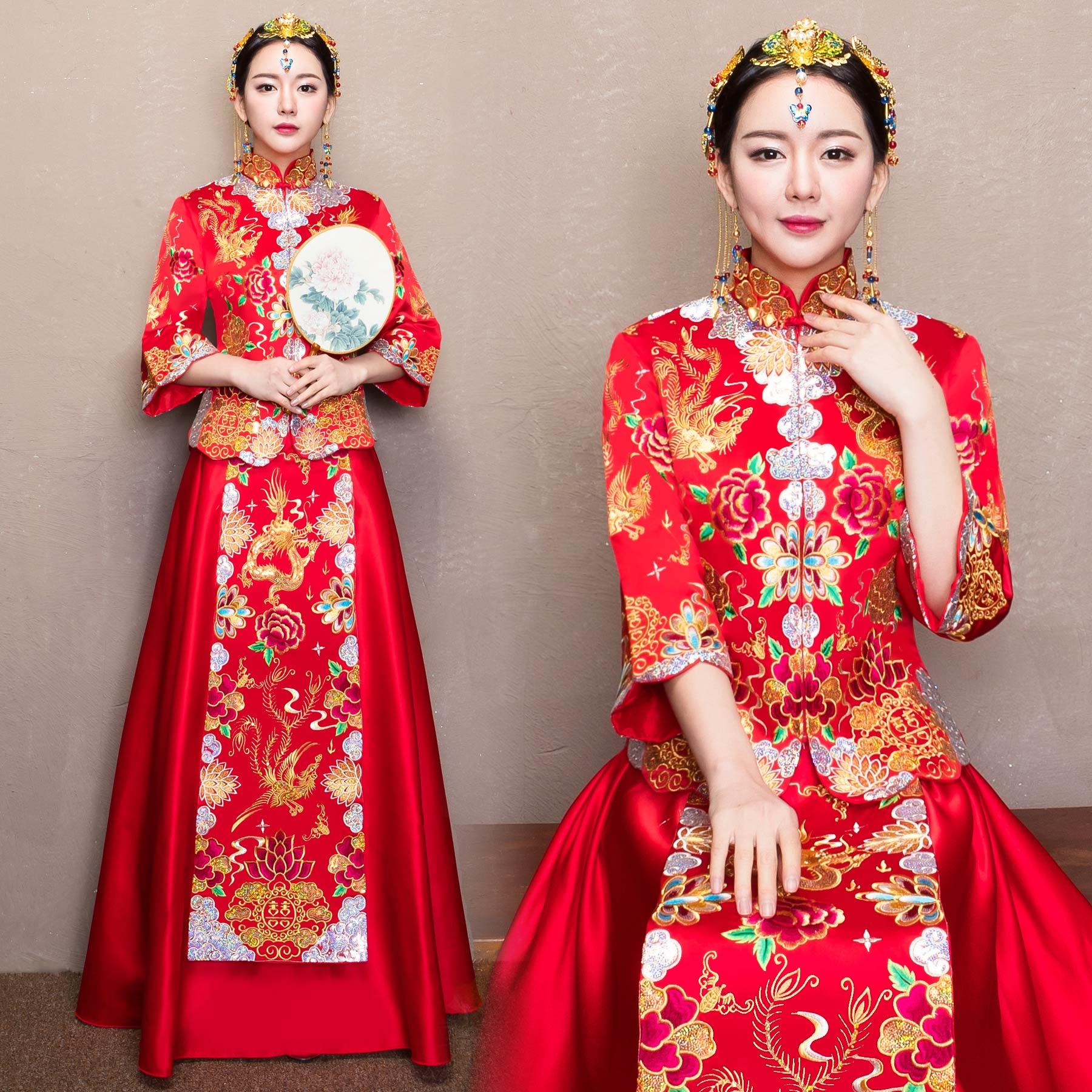 新娘服装红色古装图片_新娘衣服红色的古装_长沙婚庆公司蜜匠婚礼