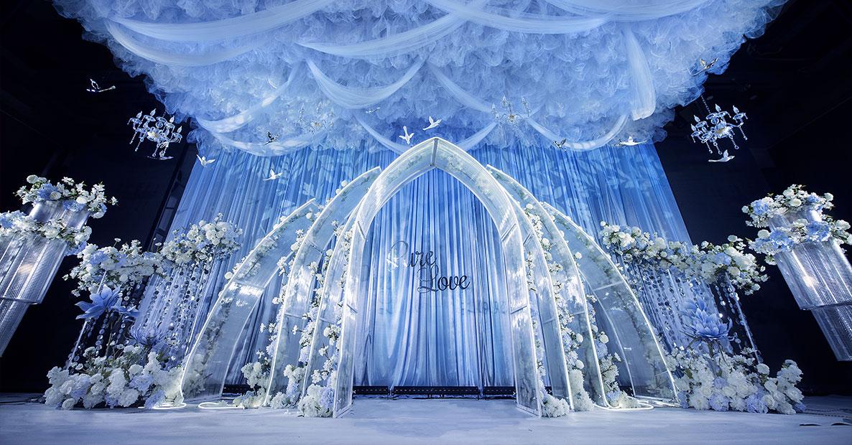 大冶蓝色婚礼现场布置方案