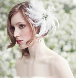 新娘短发婚纱照造型 齐肩短发新娘造型图片