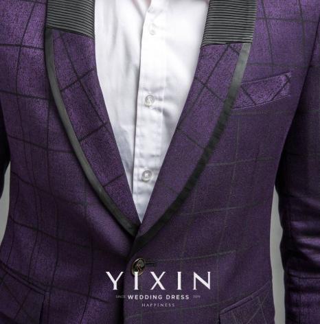 黑紫格单排一扣套西