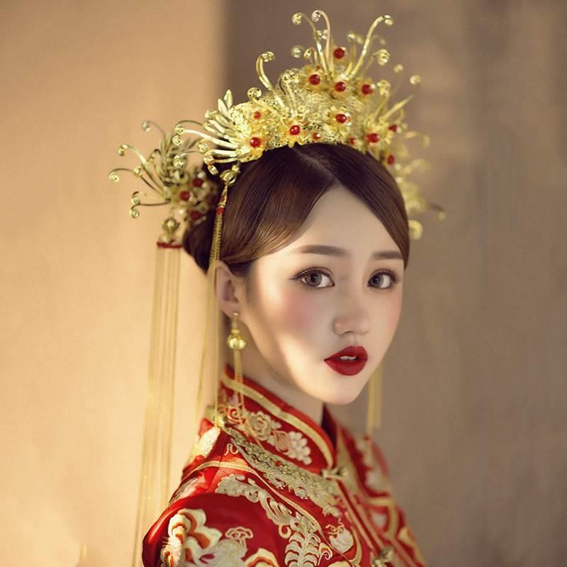 古代新娘头饰 短发新娘秀禾造型图片