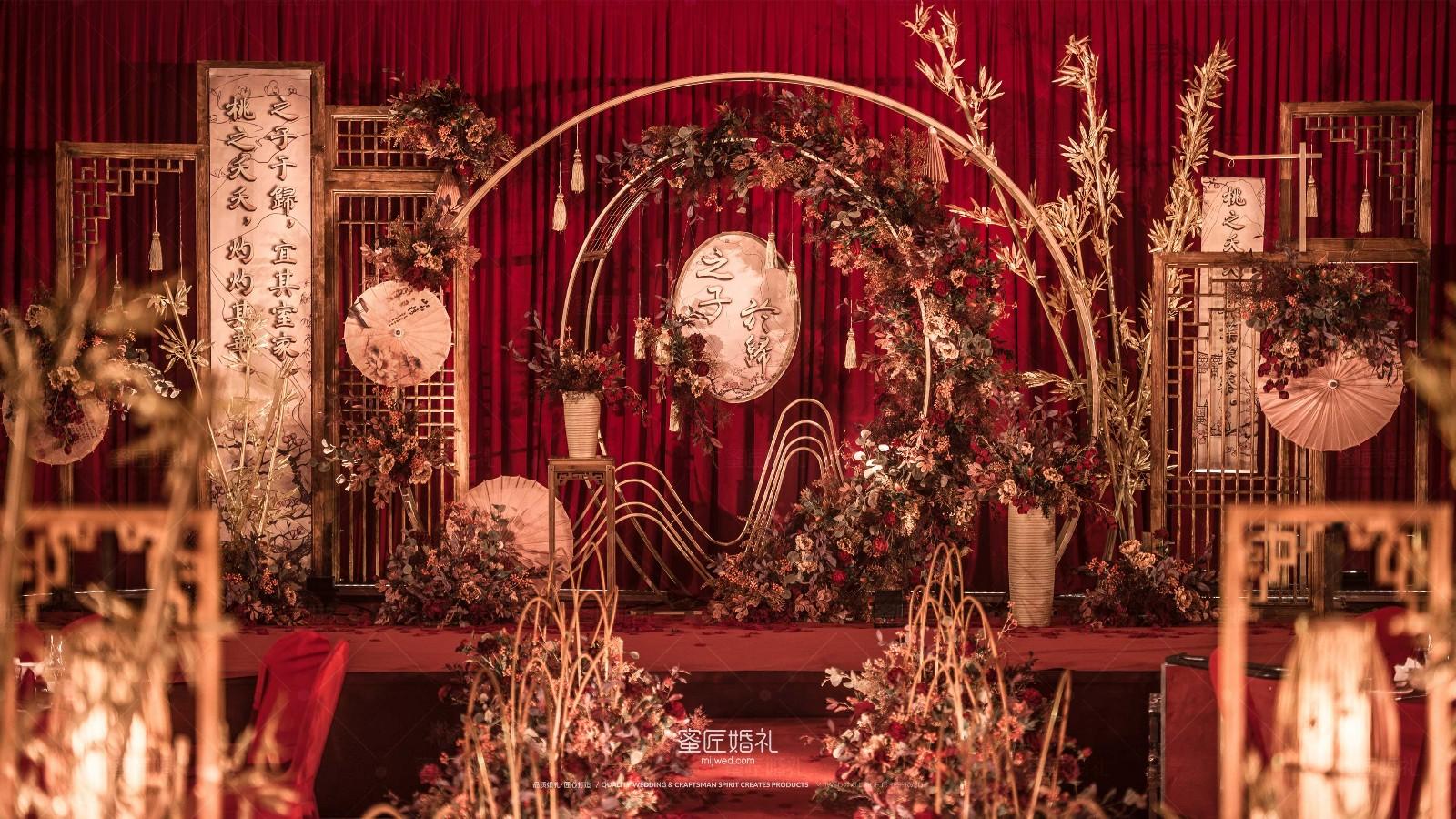 大红色金色主题婚礼